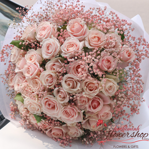 Pink roses bouquet in Hochiminh
