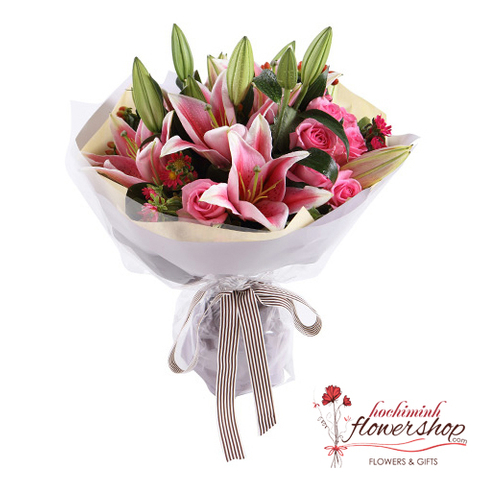 Bouquet of pink lilies order online