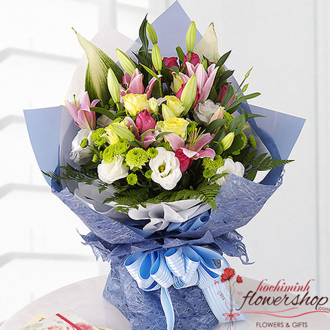 Mixed bouquet for birthday in Hochiminh