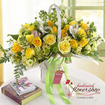 Hochiminh yellow basket birthday arrangement