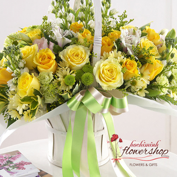 Hochiminh yellow basket birthday arrangement free delivery