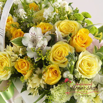 Hochiminh yellow basket birthday arrangement online