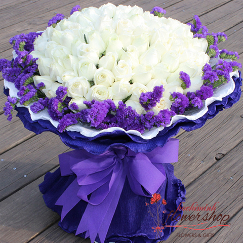 White roses bouquet in Hochiminh Flower Shop