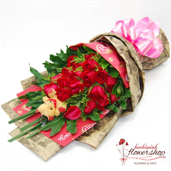 Red roses bouquet delivery in Hochiminh