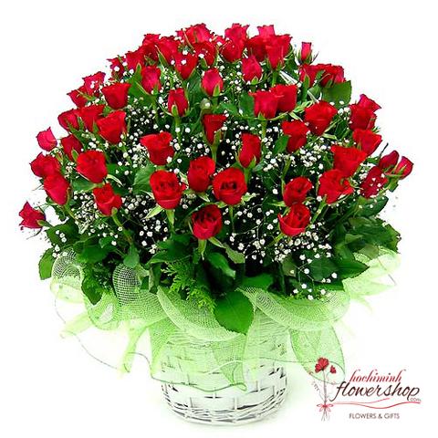 99 red roses mixed baby breath