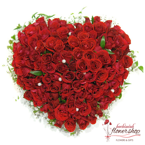 99 red roses heart shape arrangement in hcm city