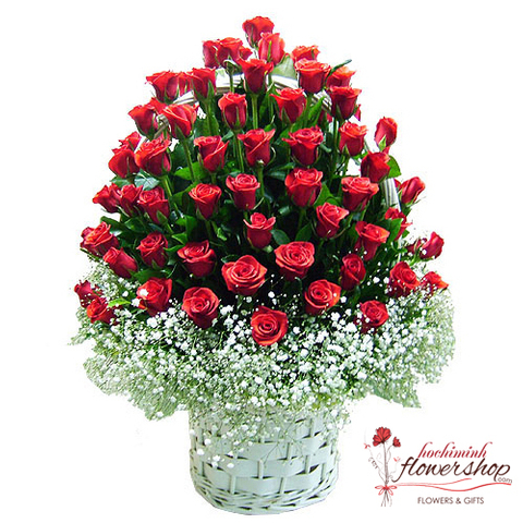 99 red roses arranged with baby breath