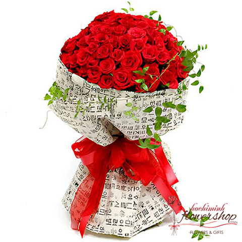 99 red roses of hand bouquet delivery hochiminh