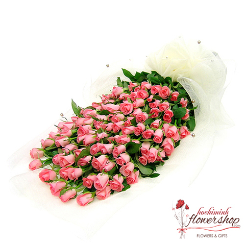 99 pink roses bouquet delivery in hochiminh