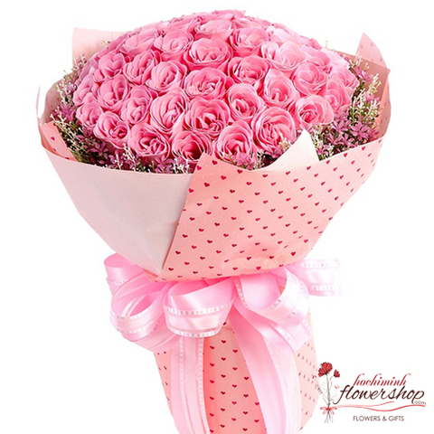99 pink roses bouquet delivery hochiminh city
