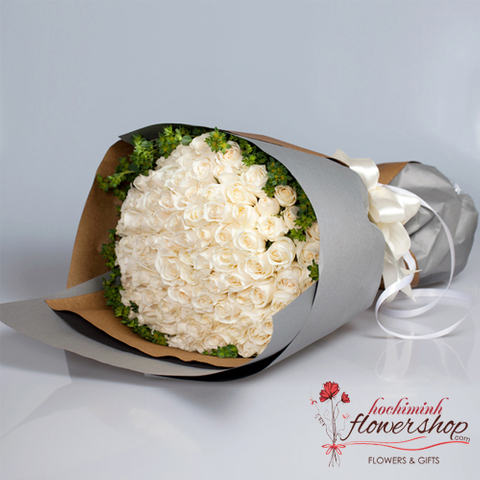 Send 99 White Rose To Hochiminh Vietnam