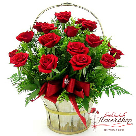 Beautiful red roses basket in HCM city