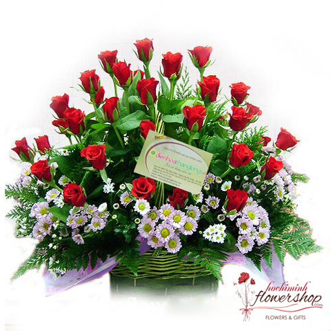 Red roses basket free shipping in Hochiminh