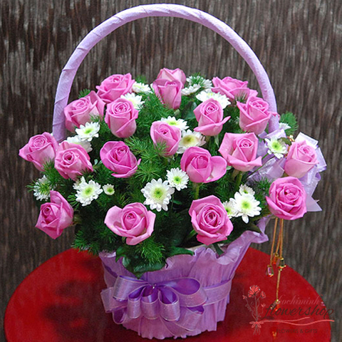 Pretty pink roses basket beautiful