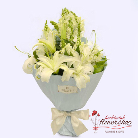 White flower bouquet beautiful delivery sameday