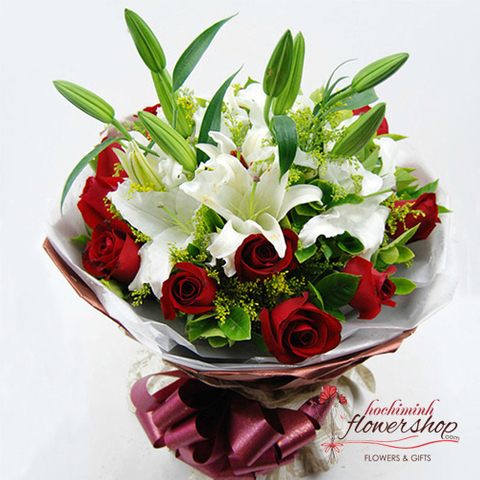 White Lilies mixed 12 red roses bouquet