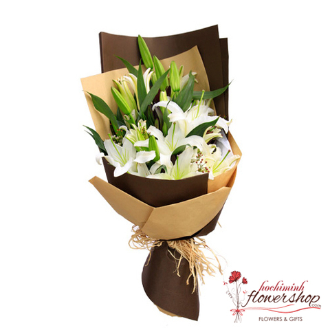 Beautiful white lily flowers in hochiminh flowers