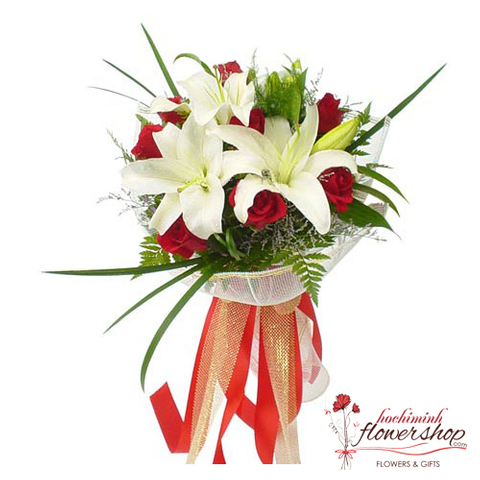 Valentines day bouquet red and white
