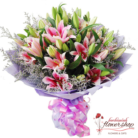 Pink lily bouquet send to hochiminh