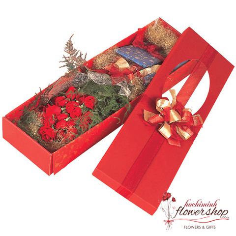 Box red roses free shipping in hochiminh