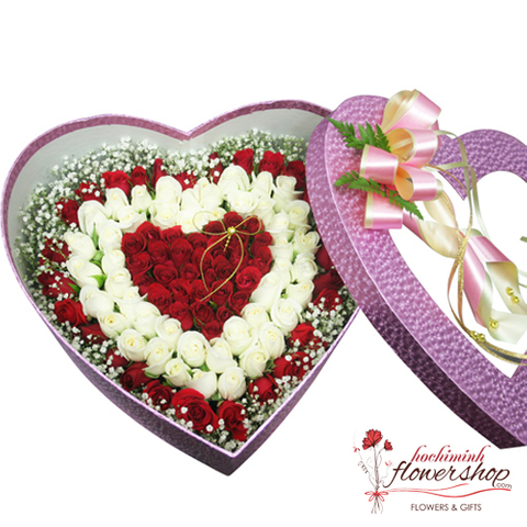 Heart shaped roses box delivery to vietnam