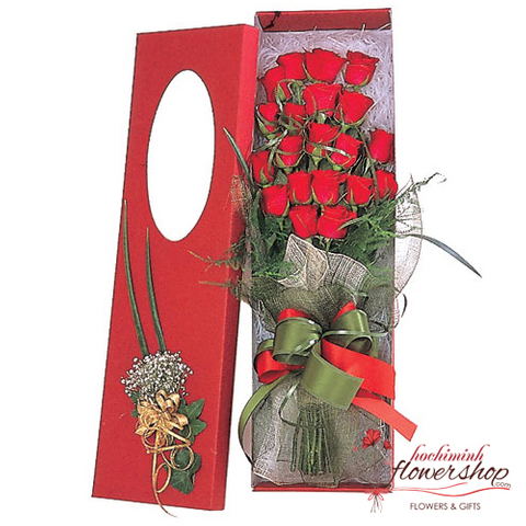 Red roses in box free shipping district1