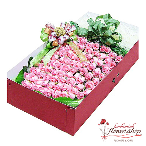 Box of 99 pink roses beautiful delivery same day