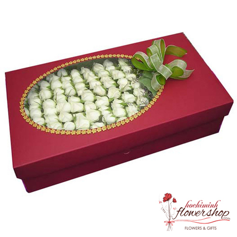 100 white roses in box send to hochiminh