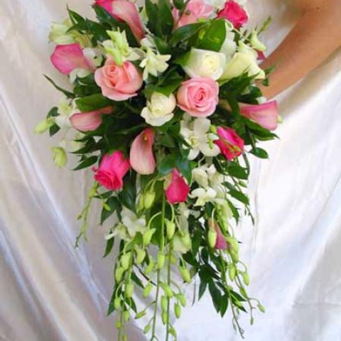 wedding bouquet white orchid and pink roses