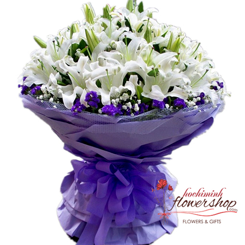 Vip bouquet with white lily flowers