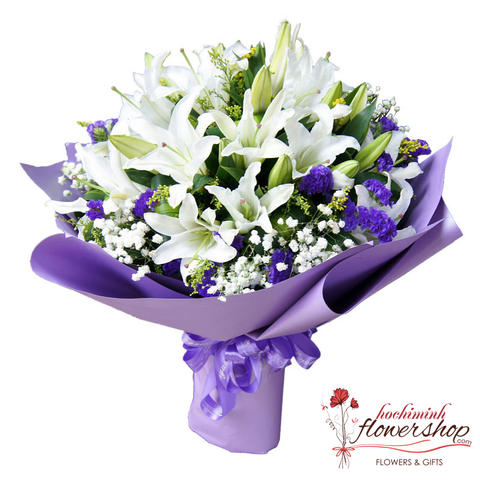 Beautiful lily bouquet for wife in hochiminh