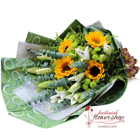 Sunflower bouquet deliver to home in HCM