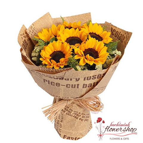 Sunflower bouquet for congratulation in HCMC