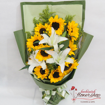 Bouquet of lilies with sunflower in Hochiminh