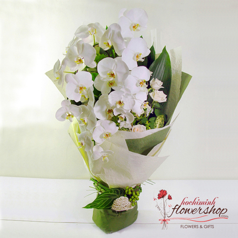 White orchid bouquet  delivered in district 1