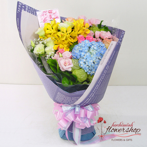 Order flowers mixed orchid delivery to boss