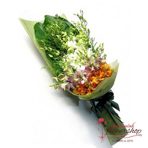 Small orchid flower bouquet free delivery