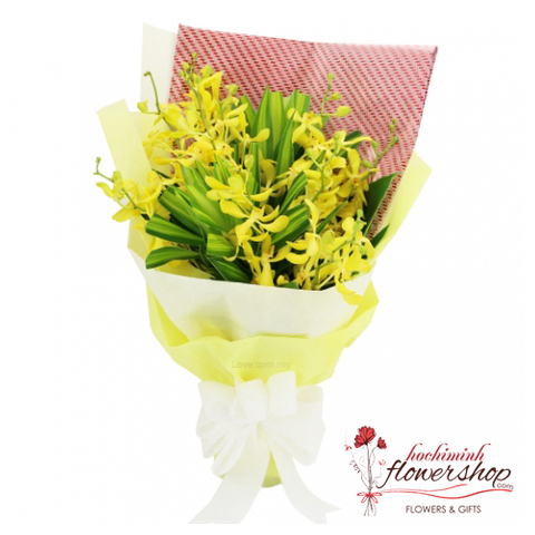 Monkara Orchid bouquet with yellow colour