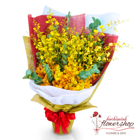 Yellow orchid bouquet delivery saigon