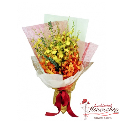 Beautiful orchid bouquet free ship in hochiminh