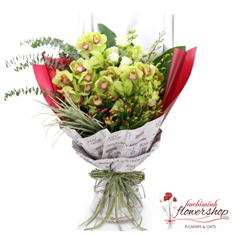 Green orchid flower bouquet delivery same day