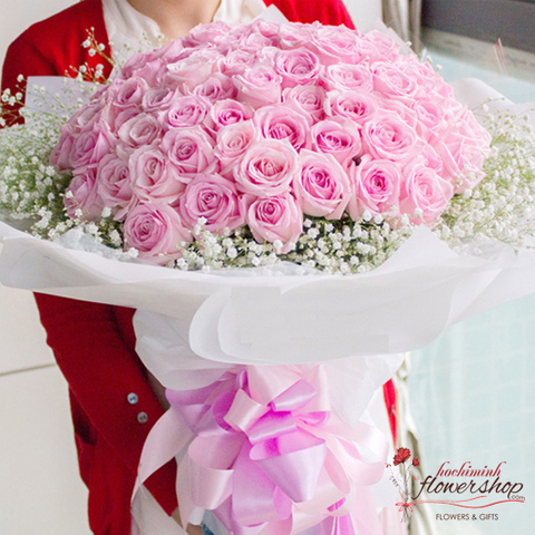 Order 99 pink roses in flower shop online