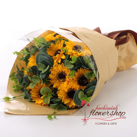 Sunflower bouquet for sending to Hochiminh
