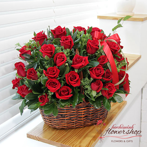 Love romantic from basket red roses