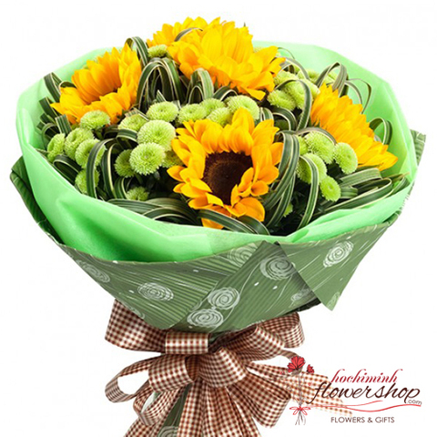 Buy bouquet of sunflowers and calimero