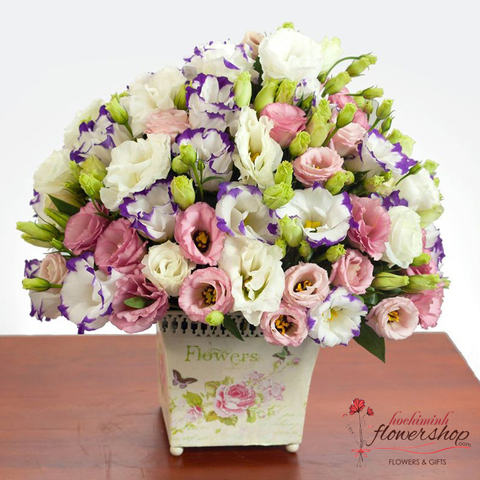 Basket of lisianthus flowers in hochiminh