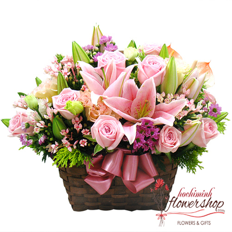 Pink flowers arrangement delivery hochiminh