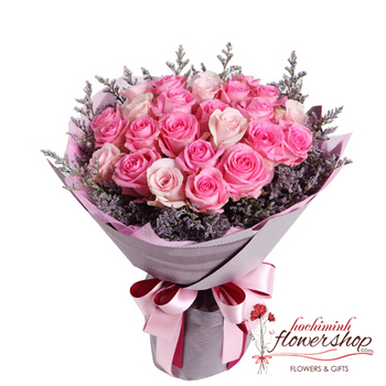 Bouquet of pink roses free delivery district 2