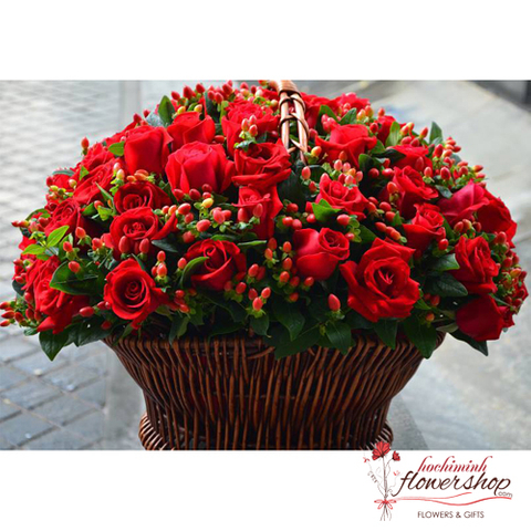 99 red roses love you forever in hcmflowershop