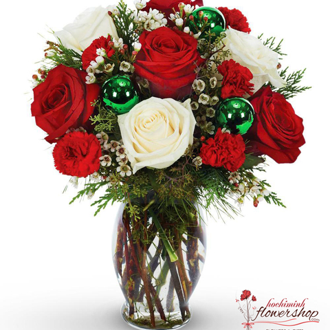 Christmas White And Red Roses in Vases